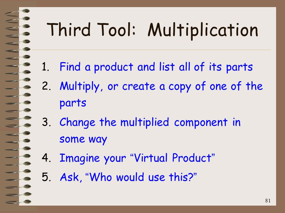 82 Fourth Tool: Feature Dependency 1.Find a product and list all of its features (NOT parts).