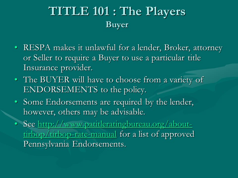 TITLE 101 : The Players Seller The SELLER typically warrants good and marketable title, that is title that is free of any liens or adverse claims that would impair its marketability or cast doubt that ownership is vested in the owner of record.The SELLER typically warrants good and marketable title, that is title that is free of any liens or adverse claims that would impair its marketability or cast doubt that ownership is vested in the owner of record.