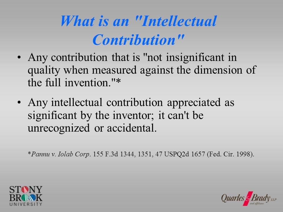 What is NOT an Intellectual Contribution discovery of a problem, but not the solution.