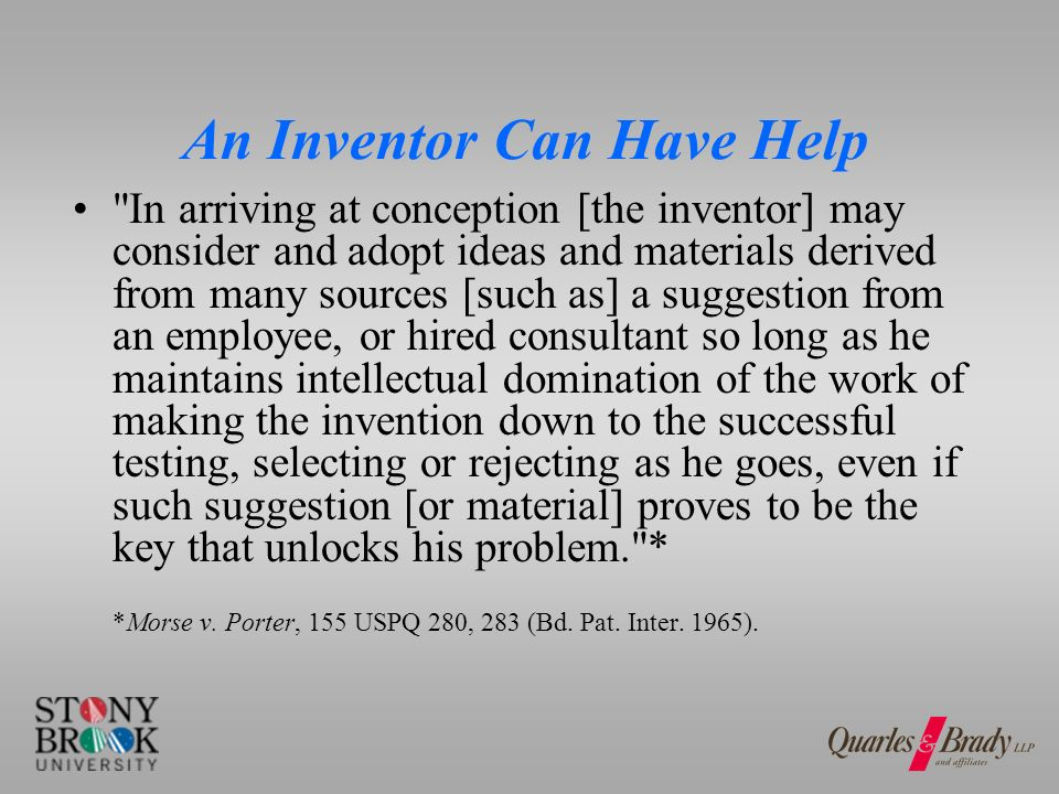 Who Is NOT an Inventor.One following oral instructions is viewed as merely a technician.