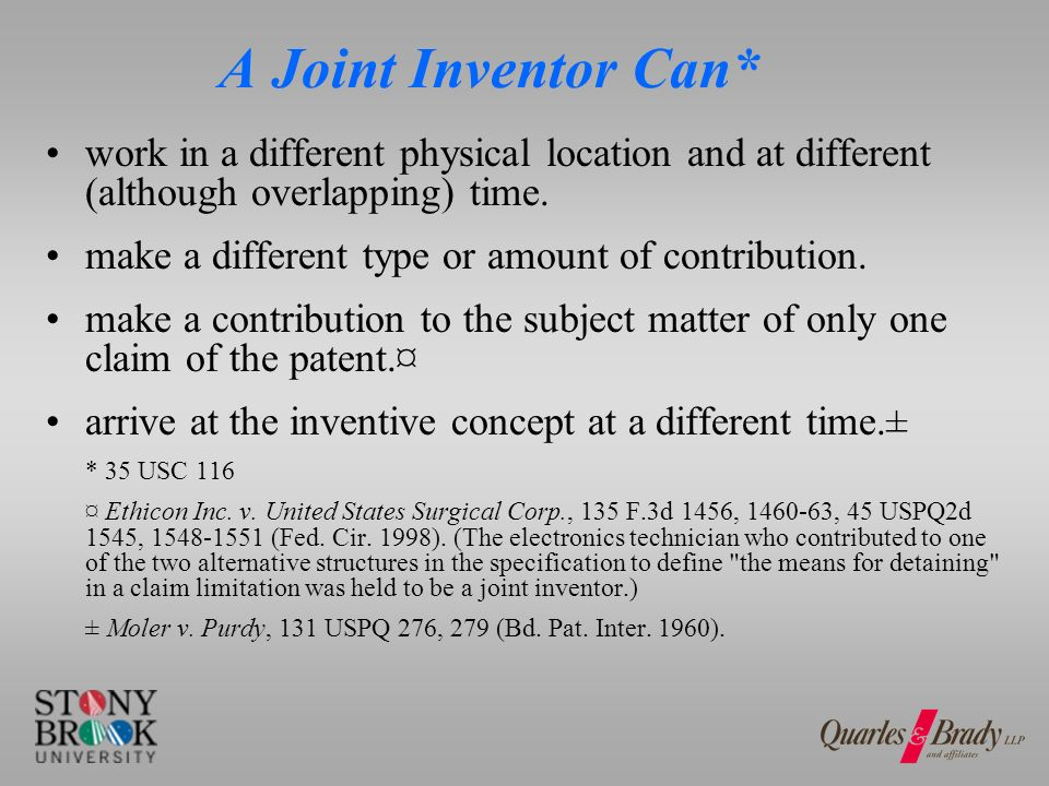 Who is NOT a Joint Inventor.