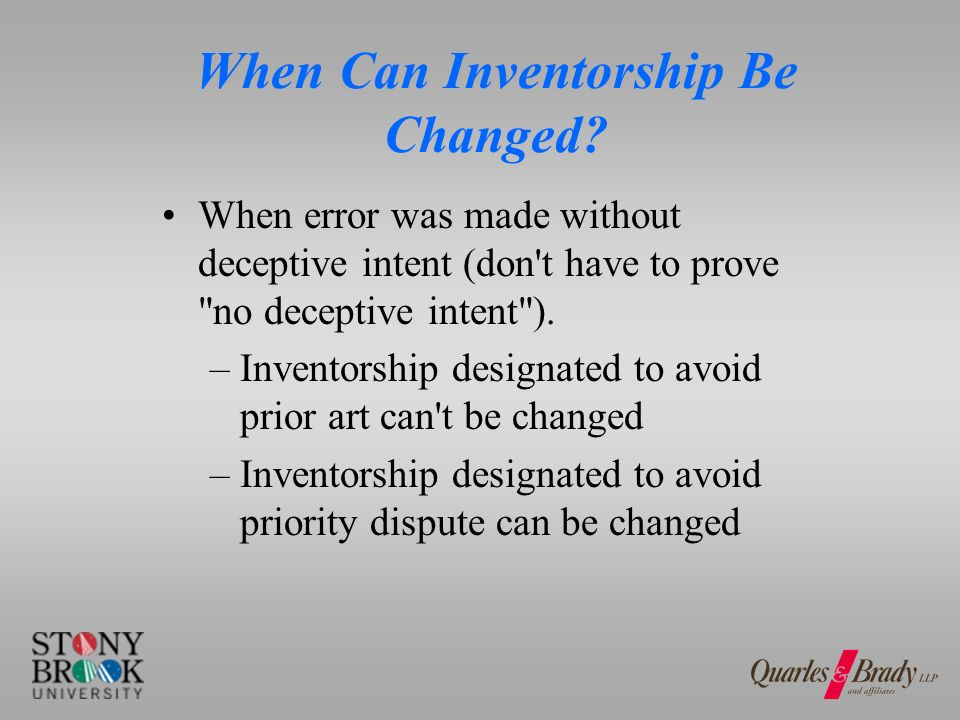 When Can Inventorship Be Changed.