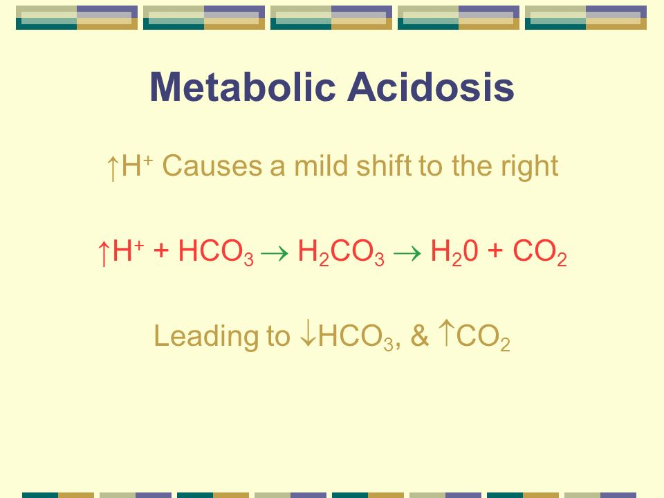 Metabolic Acidosis Unfortunately this shift is not enough to overcome the increased hydrogen so H + is still very elevated.