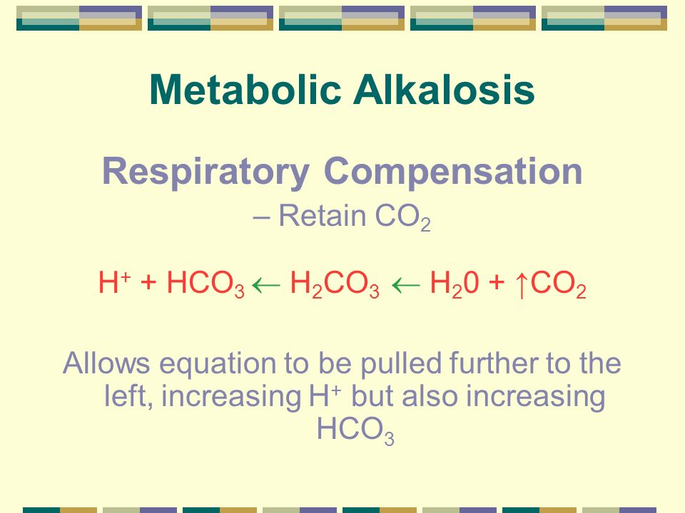 Compensated Metabolic Alkalosis H + + HCO 3 H 2 CO 3 H 2 0 + CO 2 End result: Mildly decreased H + Mildly increased pH Increased HCO 3 Increased P CO 2 (compensation)