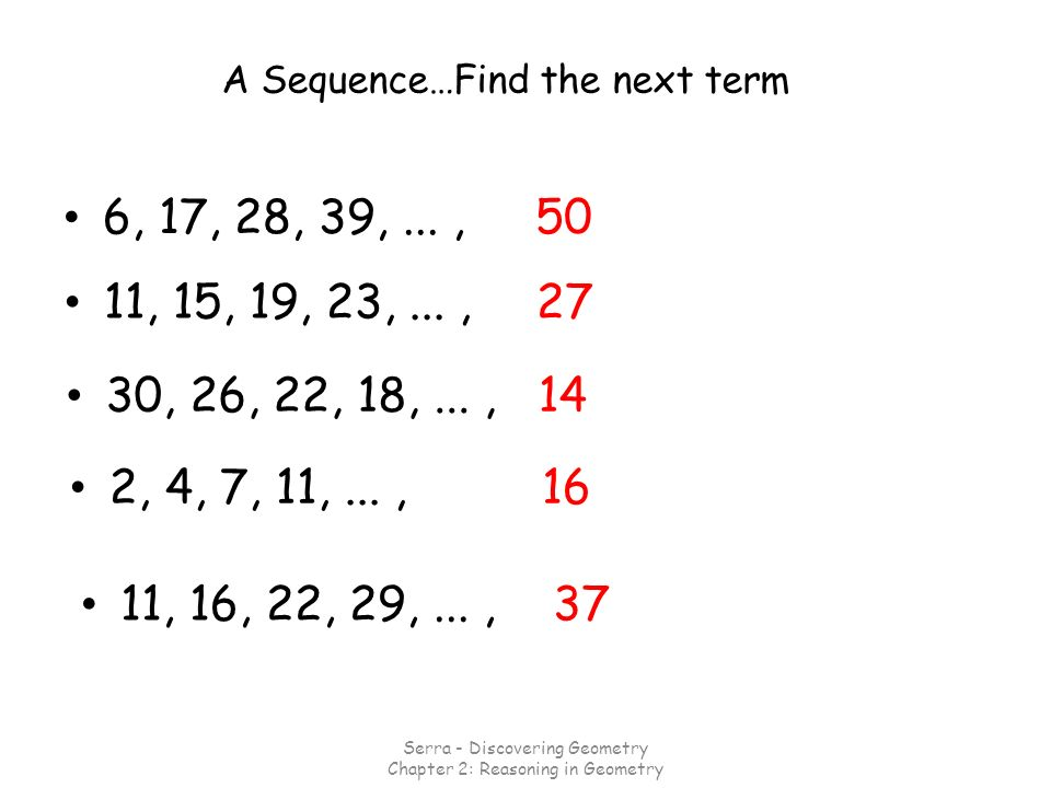 Example #2 Describe the pattern.Write the next three numbers.