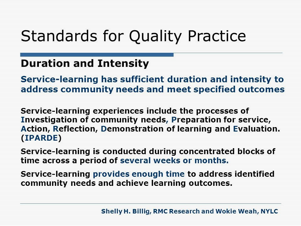 Standards for Quality Practice Duration and Intensity IPARDE with The Elderly (study of the aging process) Investigation Preparation Action Reflection Demonstration Evaluation