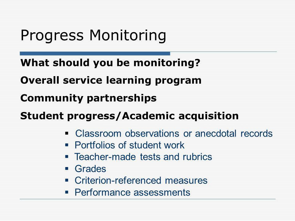 Progress Monitoring What should you be monitoring.