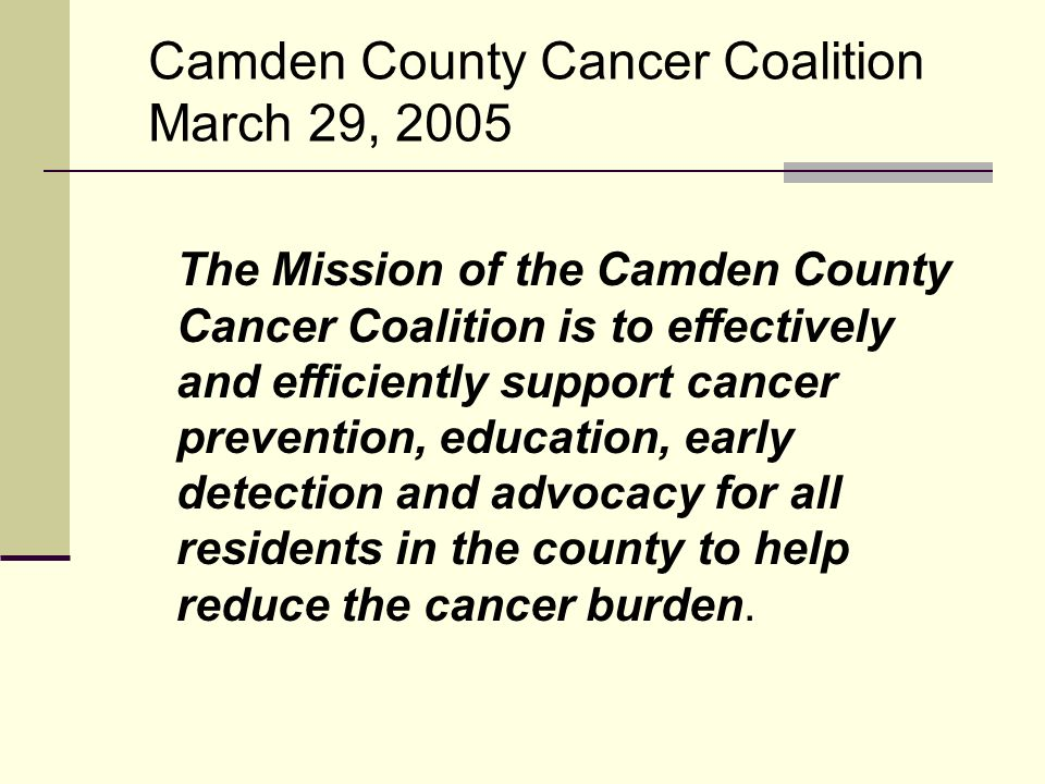 Provisional Goal #1: The Camden County Cancer Coalition will serve as a forum to bring together information sharing and project/program collaboration on cancer care efforts of both public and private agencies and health providers in the county in order to reduce the cancer burden by implementing the 2004 Camden County Capacity and Needs Assessment recommendations.