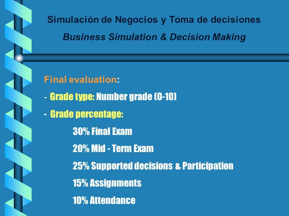 Simulación de Negocios y Toma de decisiones Business Simulation & Decision Making Final evaluation: - Grade type: Number grade (0-10) - Grade percentage: 30% Final Exam 20% Mid - Term Exam 25% Supported decisions & Participation 15% Assignments 10% Attendance