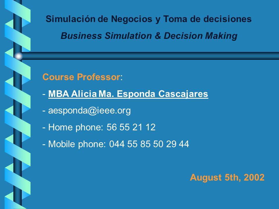 Simulación de Negocios y Toma de decisiones Business Simulation & Decision Making Course Professor: - MBA Alicia Ma.