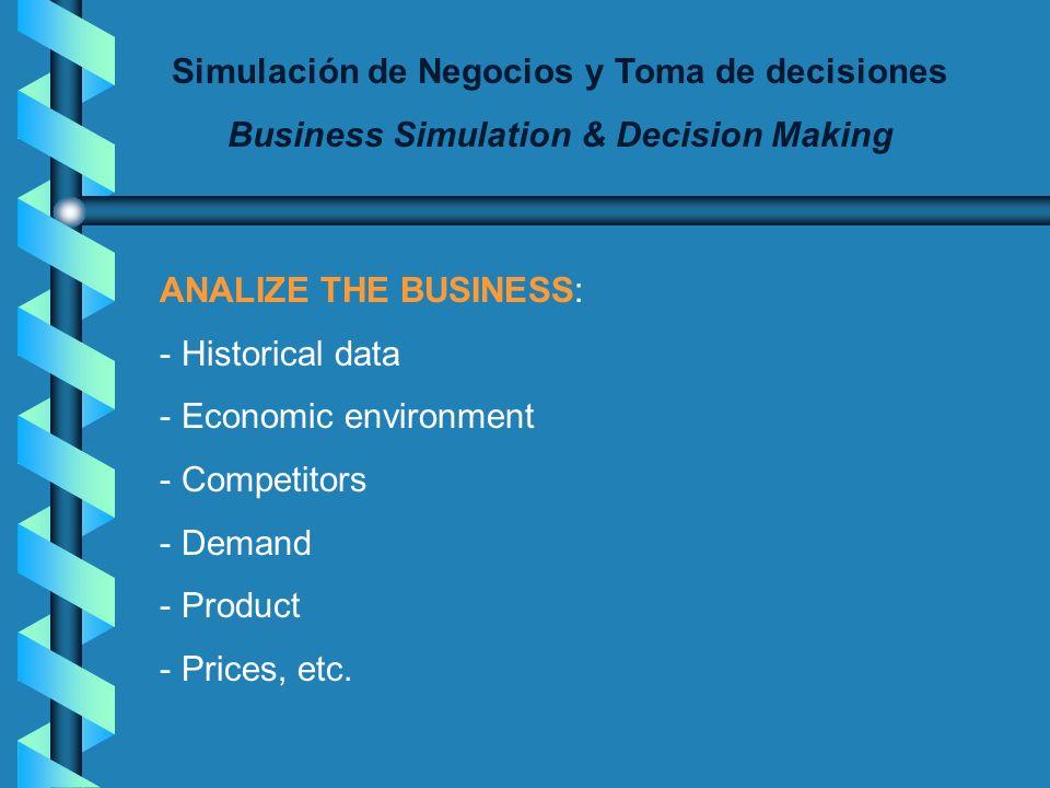 Simulación de Negocios y Toma de decisiones Business Simulation & Decision Making ANALIZE THE BUSINESS: - Historical data - Economic environment - Competitors - Demand - Product - Prices, etc.