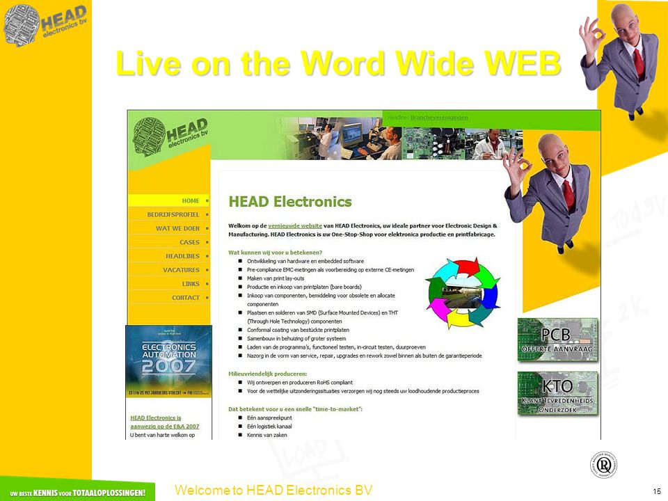 Welcome to HEAD Electronics BV 15 Live on the Word Wide WEB