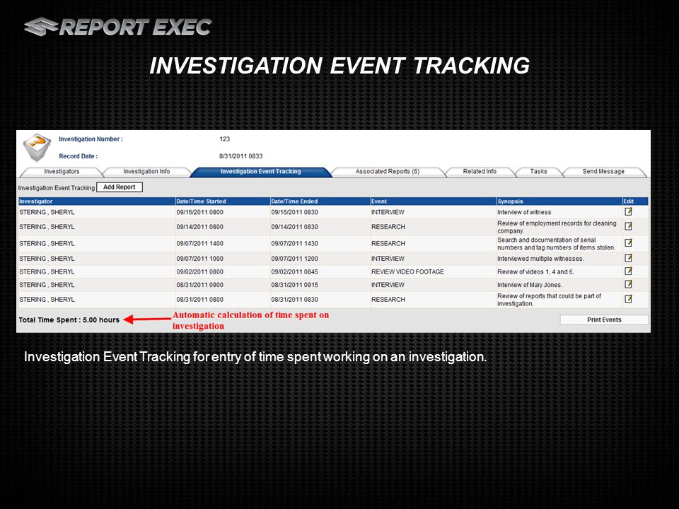 Investigators can make a basic entry or choose to enter more detailed information on information such as Contacts, Vehicles, Property and add Digital Media to the report.