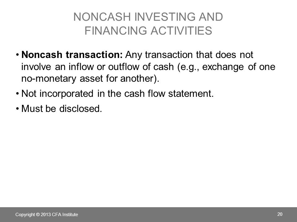 Copyright © 2013 CFA Institute 21 Cash at beginning and end of year links to the balance sheet.