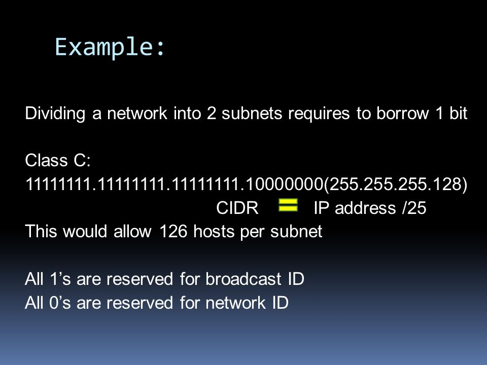 Class C Subnetting # of Subnets# of Hosts/Subnet NetMask4 th OctetCIDR Notation 2126255.255.255.12810000000/25 462255.255.255.19211000000/26 830255.255.255.22411100000/27 1614255.255.255.24011110000/28 326255.255.255.24811111000/29 642255.255.255.25211111100/30