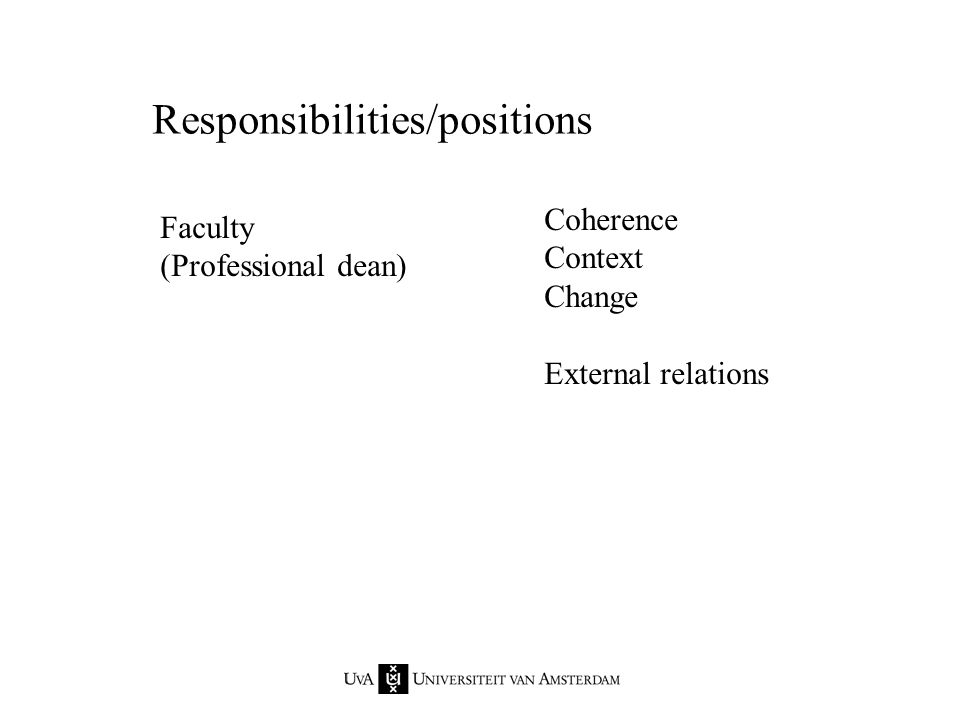 Responsibilities/positions Department Chair (Chair = Professor) Staffing policy Development of the discipline as a whole