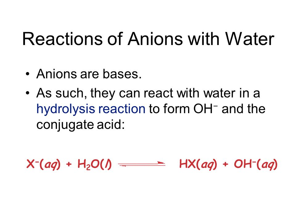 Reactions of Cations with Water Cations with acidic protons (like NH 4 + ) will lower the pH of a solution.