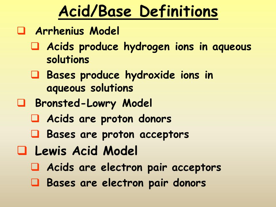 Dissociation of Strong Bases  Strong bases are metallic hydroxides  Group I hydroxides (NaOH, KOH) are very soluble  Group II hydroxides (Ca, Ba, Mg, Sr) are less soluble  pH of strong bases is calculated directly from the concentration of the base in solution MOH(s)  M + (aq) + OH - (aq)