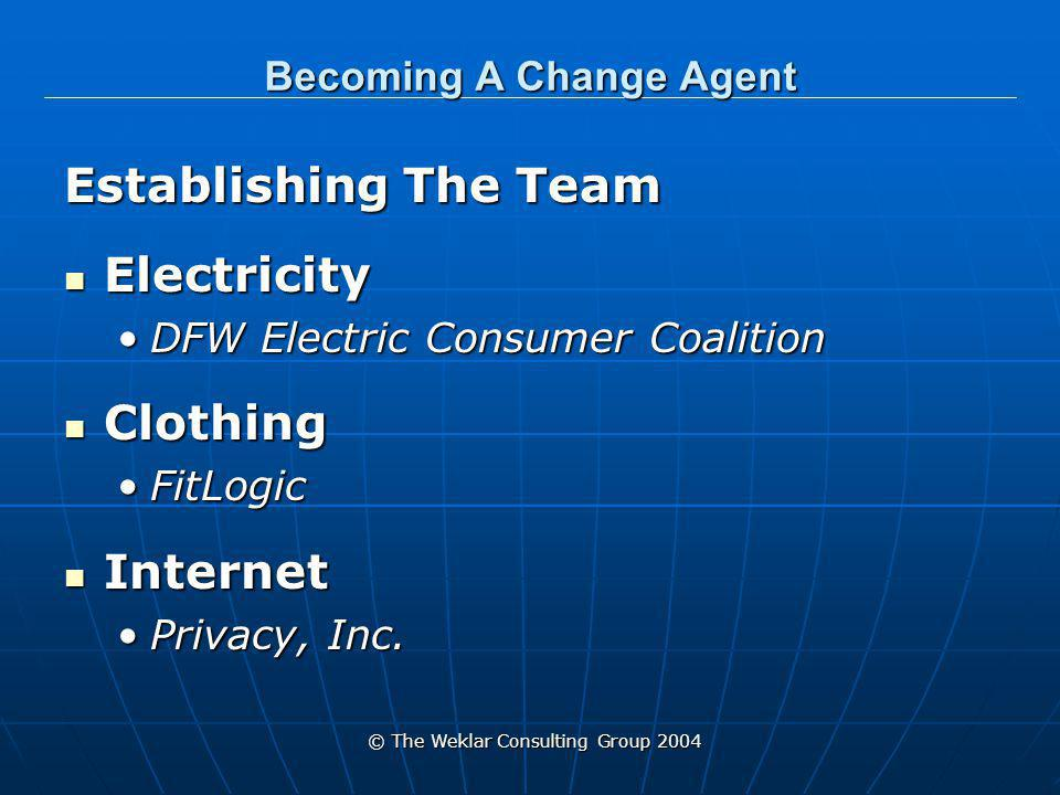 © The Weklar Consulting Group 2004 Becoming A Change Agent Team Leadership Team Leadership Every team must have a leaderEvery team must have a leader Set the Vision Set the Vision Maintain the Vision Maintain the Vision Be the Motivator Be the Motivator Understand how the ripples of change will affect Understand how the ripples of change will affect The TeamThe Team The environment the team is changingThe environment the team is changing