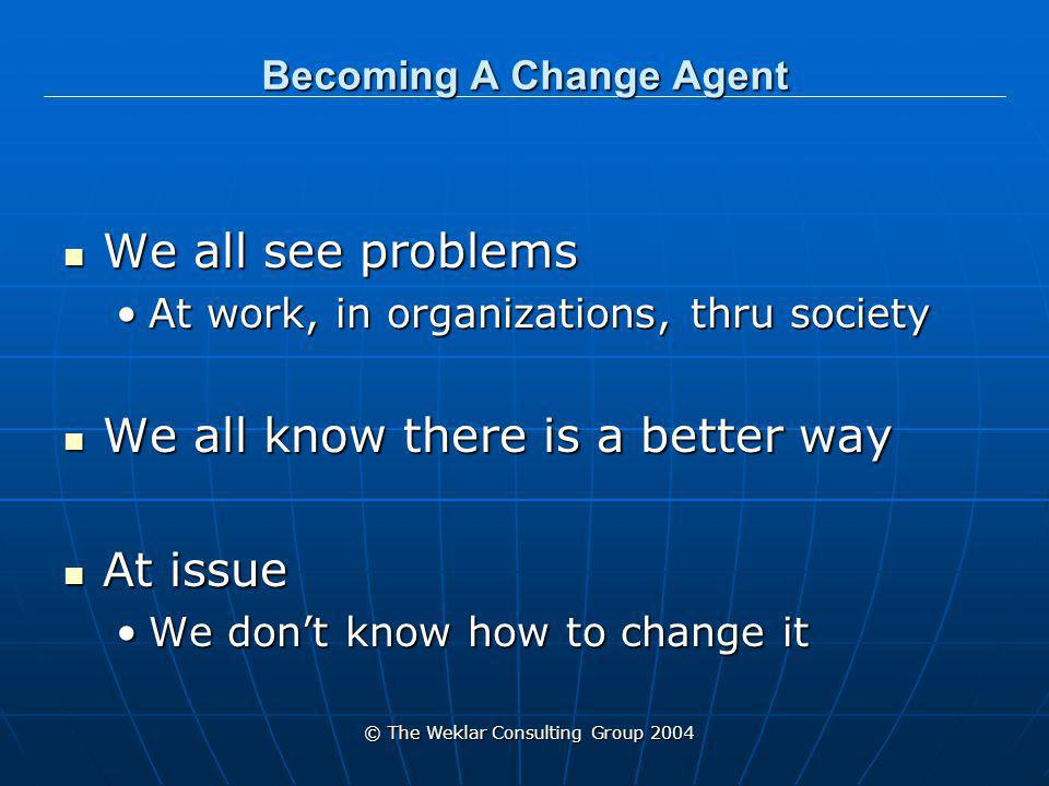 © The Weklar Consulting Group 2004 Becoming A Change Agent Each one of us can become a change-agent Each one of us can become a change-agent The process is the same The process is the same No matter the size of the problemNo matter the size of the problem A unit at work A unit at work Affecting the whole community Affecting the whole community Changing the world Changing the world