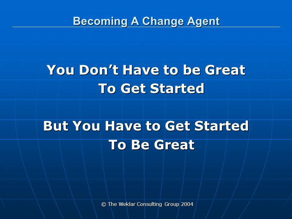 © The Weklar Consulting Group 2004 Becoming A Change Agent Diane Weklar President The Weklar Consulting Group 280 W.