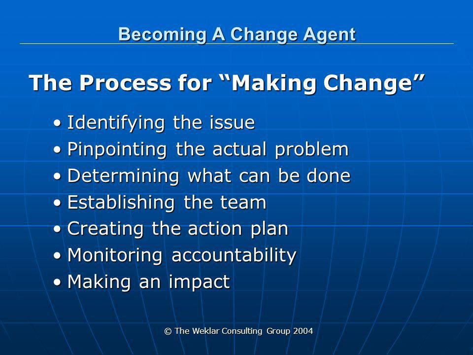 © The Weklar Consulting Group 2004 Becoming A Change Agent Dealing with Impediments Overcoming the preconceived notion of it can't be done Is the largest issue to overcome Both for yourself and others Learn to bypass NOs!Learn to bypass NOs!