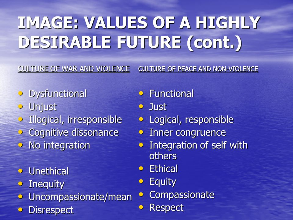 IMAGE: VALUES OF A HIGHLY DESIRABLE FUTURE (cont.) CULTURE OF WAR AND VIOLENCE Harm Harm Selfish, individualistic Selfish, individualistic Greedy Greedy Untrustworthy/paranoid Untrustworthy/paranoid Culture of Fear Culture of Fear Culture of silence Culture of silence W.M.D.
