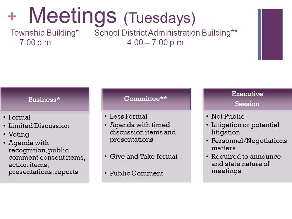 + Special Meetings info: rtsd.org Organizational Meetings (December) Budget Workshops (Oct - April) Other ie.