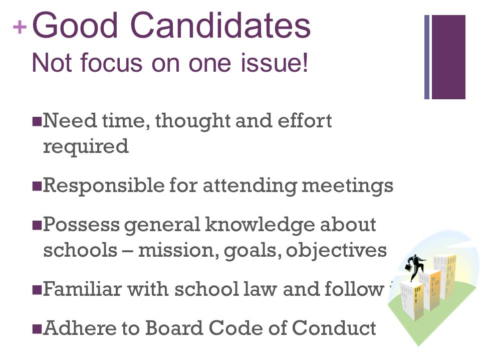 + Good Candidates Focus on the big picture Vote impartially for the good of the district Support will of the majority Keep superintendent and fellow members advised of feedback Refer complaints appropriately