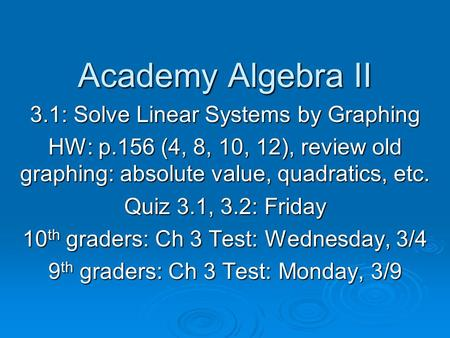 Academy Algebra II 3.1: Solve Linear Systems by Graphing