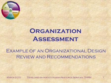March 2010Developed by Agency Human Resource Services, DHRM1 Organization Assessment Example of an Organizational Design Review and Recommendations.
