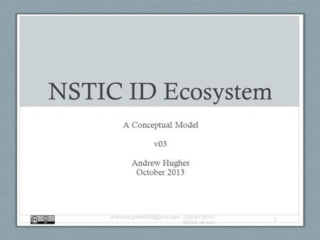 NSTIC ID Ecosystem A Conceptual Model v03 Andrew Hughes October 2013 - October 2013 - IDESG Version 1.