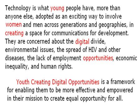 Maja Andjelkovic 14 June 2003 Why Youth as Partners in ICT4D?