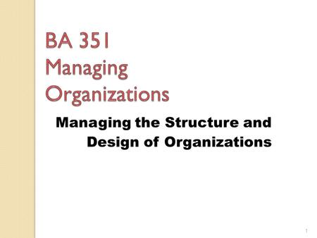 Managing the Structure and Design of Organizations 1.