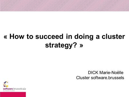 « How to succeed in doing a cluster strategy? » DICK Marie-Noëlle Cluster software.brussels.