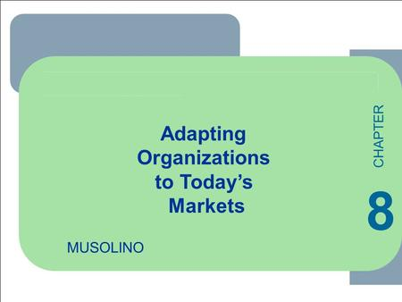 ****** 1 1-1 MUSOLINO Adapting Organizations to Today's Markets 8 CHAPTER.