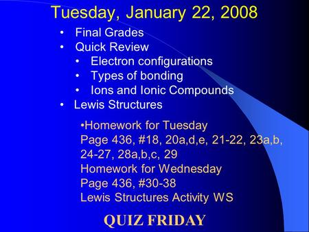 Tuesday, January 22, 2008 Final Grades Quick Review Electron configurations Types of bonding Ions and Ionic Compounds Lewis Structures QUIZ FRIDAY Homework.