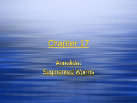 Chapter 17 Annelida: Segmented Worms Annelida: Segmented Worms.