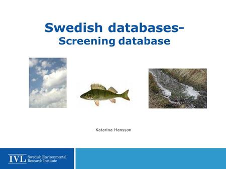 Swedish databases- Screening database Katarina Hansson.