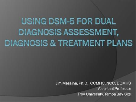 Jim Messina, Ph.D., CCMHC, NCC, DCMHS Assistant Professor Troy University, Tampa Bay Site.