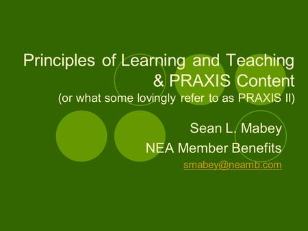 Sean L. Mabey NEA Member Benefits