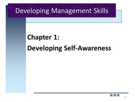 1-1 Chapter 1: Developing Self-Awareness 1 Developing Management Skills.