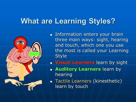 What are Learning Styles? Information enters your brain three main ways: sight, hearing and touch, which one you use the most is called your Learning Style.