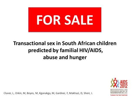 FOR SALE Transactional sex in South African children