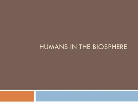 HUMANS IN THE BIOSPHERE. A Changing Landscape  Growing populations depend on the limited natural resources of earth for survival.  Humans rely on ecological.