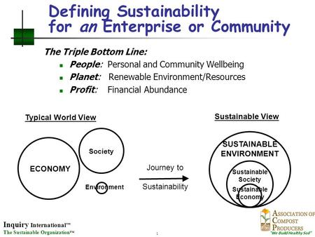 "Inquiry International ™ The Sustainable Organization ™ ""We Build Healthy Soil"" 1 Defining Sustainability for an Enterprise or Community The Triple Bottom."
