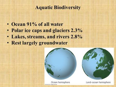 Aquatic Biodiversity Ocean 91% of all water Polar ice caps and glaciers 2.3% Lakes, streams, and rivers 2.8% Rest largely groundwater.