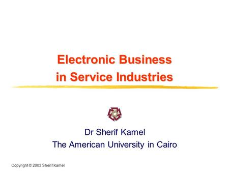 Copyright © 2003 Sherif Kamel Electronic Business in Service Industries Dr Sherif Kamel The American University in Cairo.