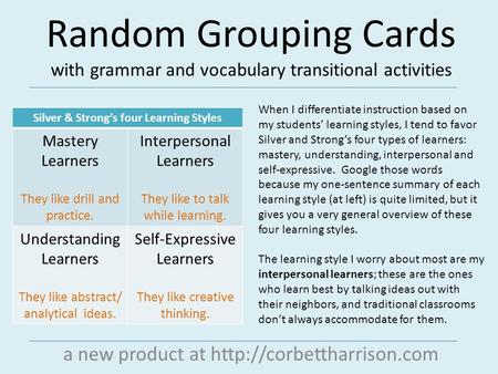 Random Grouping Cards with grammar and vocabulary transitional activities a new product at  When I differentiate instruction.