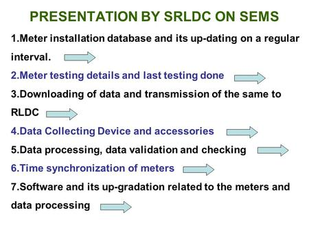 1.Meter installation database and its up-dating on a regular interval. 2.Meter testing details and last testing done 3.Downloading of data and transmission.